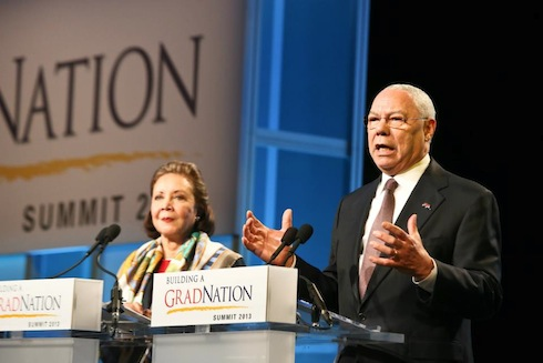 America's Promise Founding Chairman General Colin Powell and the current chair, his wife, Alma Powell. They spoke at and participated in the 2013 Summit.