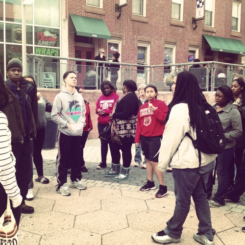 Brittany, a FLOC postsecondary Scholar, gave the other Scholars a tour of Temple's campus.