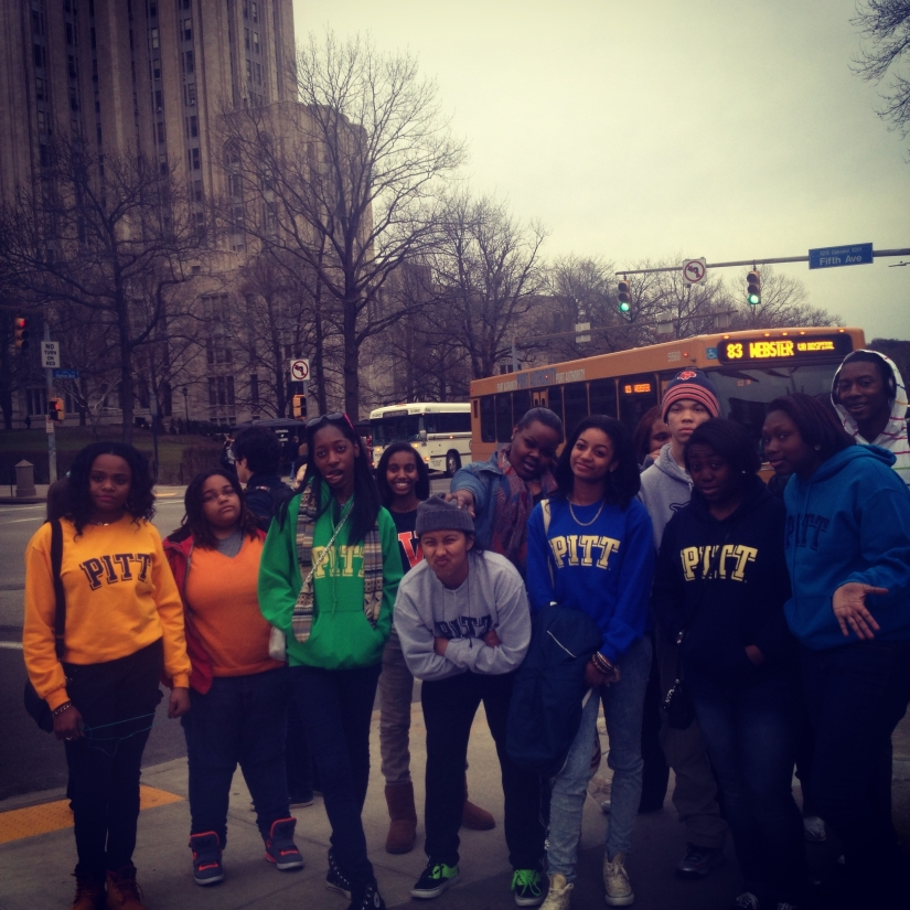 The Scholars take a silly photo at the University of Pittsburgh.