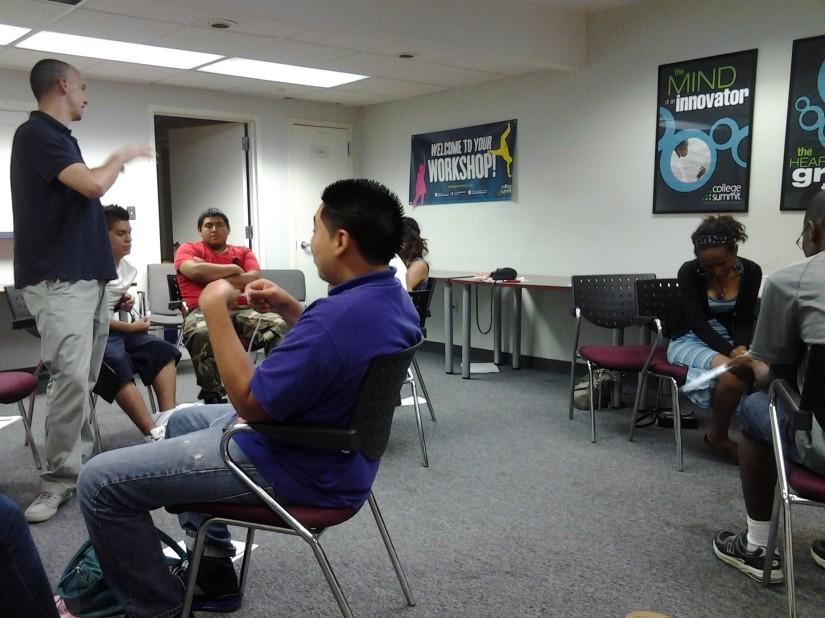 Students enjoy a workshop on career entry.