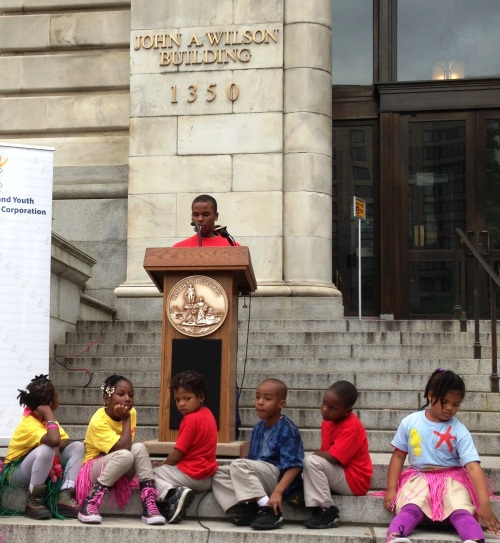 David delivers his speech at the Lights on Afterschool event.