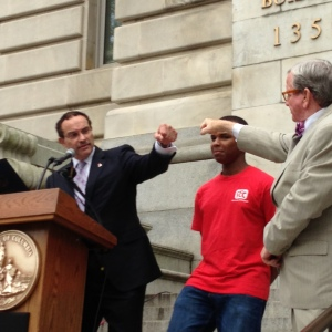 David shares the stage with Mayor Vincent Gray and Councilmember Jim Graham.