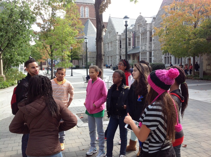 Our attentive Middle School Scholars learning about the University of Pennsylvania.