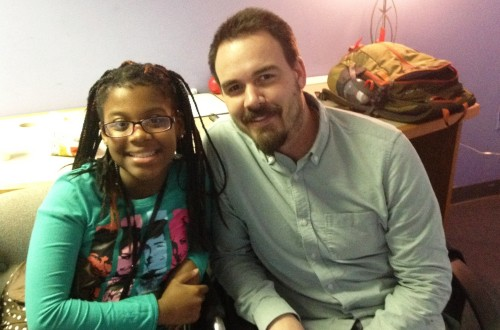 Da'Maree and her tutor Tim at the Thursday Night Math program.