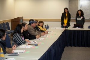 Spanish speaking parents participate of a workshop facilitated by Aurin Agramonte and Lisvette García.