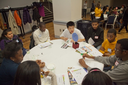 High school students during the roundtable discussions.