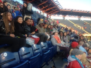 Students enjoy a chilly Phillies Game.