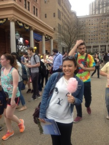 Rosa, an 11th grade Scholar, enjoys some complimentary cotton candy at UPitt.